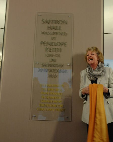 Penelope Keith unveils the new plaque at the official opening cermony of Saffron Hall today (Saturda