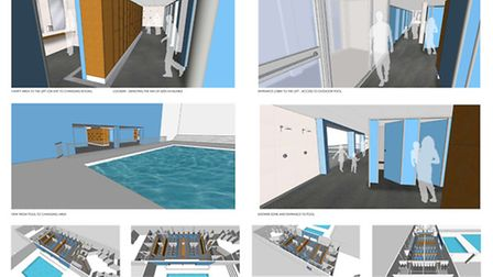 Artist impressions of new changing rooms at Hitchin Swimming Centre