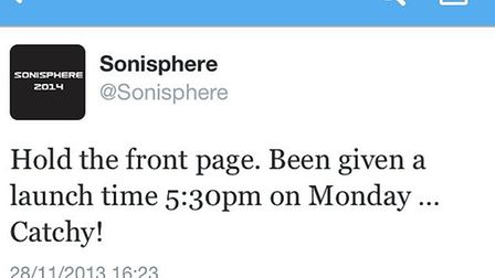 Sonisphere's Twitter reveals that the 2014 headliners will be announced at 5.30pm on Monday, Decembe