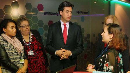 Ed Miliband speaks to students during his visit to North Herts College