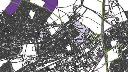 The proposed sites for housing (in purple), including Green Belt land north of the Grange Estate, pi