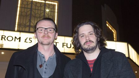 Simon Pegg and Edgar Wright outside the Broadway Cinema in Letchworth GC