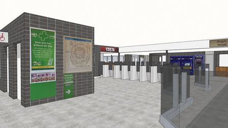 An artist's impression of Stevenage Railway Station following the planned renovation