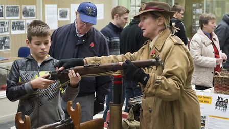 Denise Knight showing memorabilia from World War I. Credit: Peter Alvey