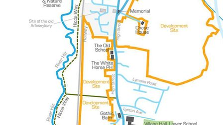 The development site takes in the west and north-east of Arlesey High Street