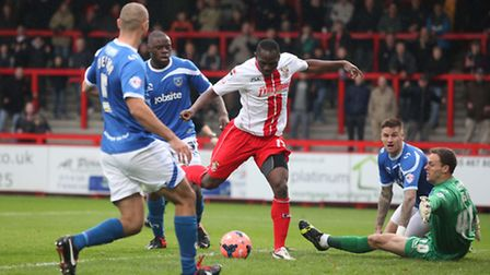 Francois Zoko scores his and Stevenage's first goal