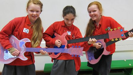 From left, Year 6 pupils Eleanor Anderson, Maeve Barve and Ciara Bailey took part in the a 1950's ar