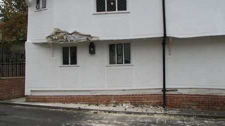 The damage to the Finchingfield Guildhall.