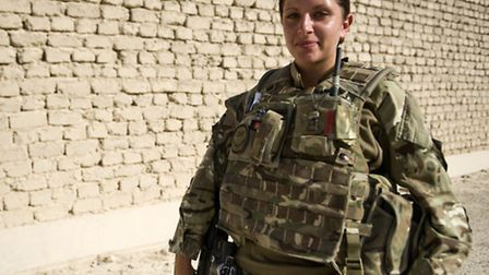 Private Abbie Martin, 20, from Haverhill in Suffolk. Her combat medical skills give the troops on th
