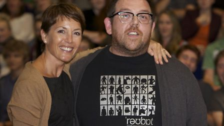 Actor Nick Frost with his cousin Karen Sheairs at the screening of The World's End at Saffron Screen