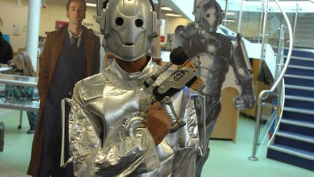 Krishna dressed as a Cyberman as part of Saffron Walden Library's Dr Who exhibition.