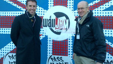 Tim Worboys (right) has demonstrated WallJAM to England U21 manager Gareth Southgate