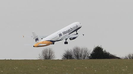 A plane takes off from London Luton Airport, which has had an expansion plan approved
