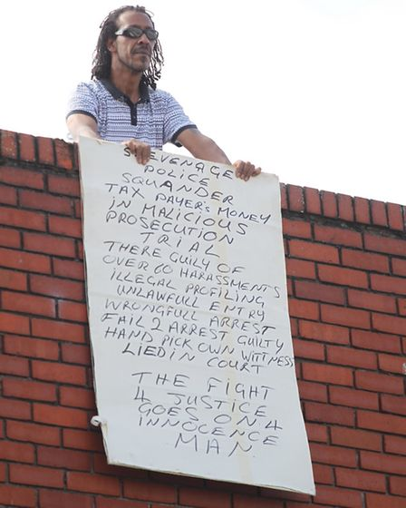 Gabriel Yellowe protests at Stevenage Police Station