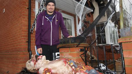 James Creighton outside his Halloween house in Grove Road, Stevenage