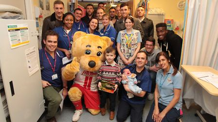 Stevenage fc players visit the childrens a and e at the Lister hospital