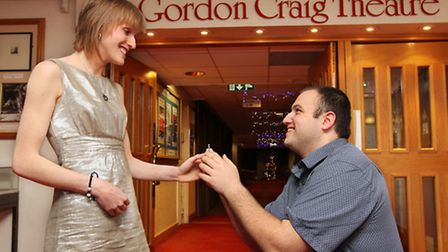 Stephen Coates mocks up a more traditional proposal to Emma Owen at the Gordon Craig Theatre