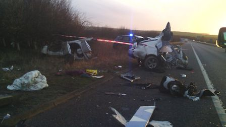 A driver had a miraculous escape after a car was ripped in two following a crash on Christmas Eve.