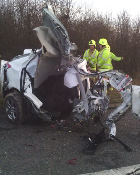 The scene of the crash on the M11 near Great Chesterford.