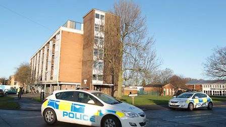 Police at the scene of the stabbing at Middlefields Court in Letchworth GC