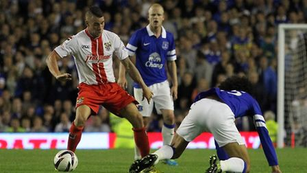 James Dunne in action for Stevenage against Everton in the Capital One Cup earlier this season