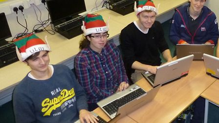Santa's little helpers working hard ahead of the SWCHS Christmas Variety Show.