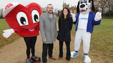 Comet editor Darren Isted with Knebworth Park operations manager Charlotte Murfitt, British Heart Fo
