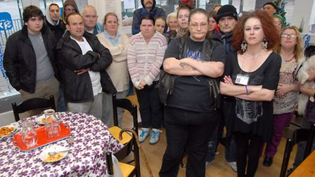 Staff and patrons of YMCA So Stevenage ahead of its closure on Friday