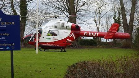 The Herts Air Ambulance landed in the grounds of Newport Free Grammar School.