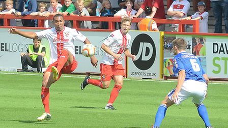 Darius Charles in action against Oldham Athletic on the opening weekend of the season. Photo: Alan M