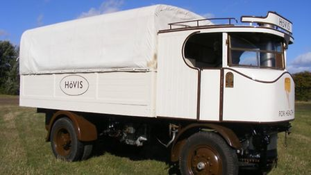 The recently restored Sentinel Steam Lorry which was used as a Hovis bread lorry in Old Trafford, Ma