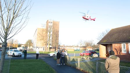 The air ambulance leaving the scene of the stabbing at Middlefields Court in Letchworth GC