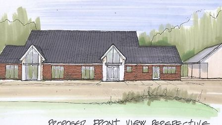 An artist's impression of the proposed front view of the new-look Debden Village Hall.