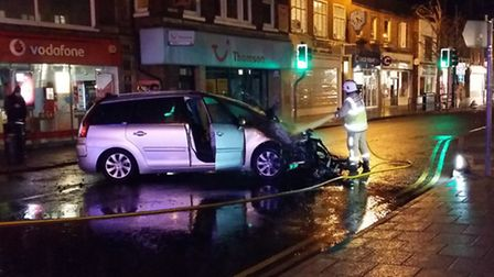 Fire crews were called to a car fire in Hitchin yesterday