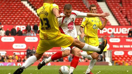 John Mousinho scores in the 2011 League 2 play-off final against Torquay United