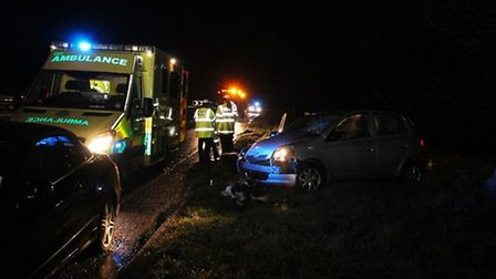 The ambulance service attened a crash on the A505 yesterday (Thursday). Photo by Gary Sanderson East