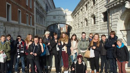The students enjoying their trip to Venice.