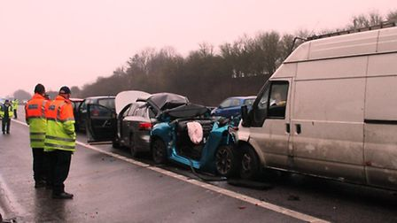 There was a six vehicle crash on the A1(M) this morning. Credit: @AmboOfficer via Twitter
