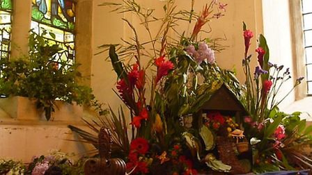 A floral display in the church