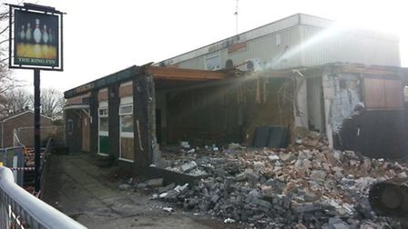 The King Pin pub has been demolished today as part of a council regeneration scheme
