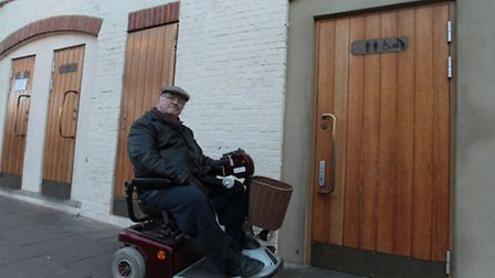 Kenneth Burton, 84, gets about in a scooter but has found that using the public toilets in Hitchin T