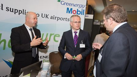 Stansted Airport managing director, Andrew Harrison (centre), meets delegates at the 2013 London Sta