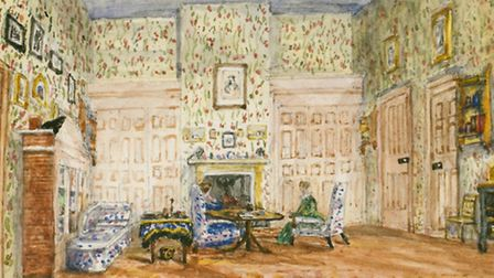 Watercolour painting of Audley End's nursery room.