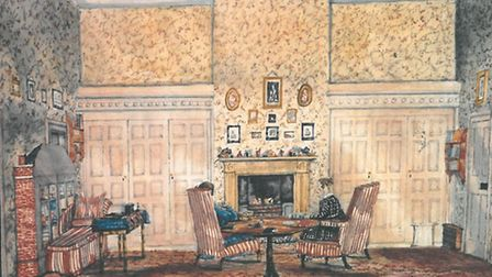Watercolour painting of Audley End's coal room.