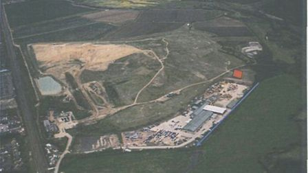The red square marks the proposed site for the wind turbine to be built on a landfill site in Mill L