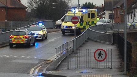 Emergency services attended the scene of a crash on Sish Street today (Wednesday)