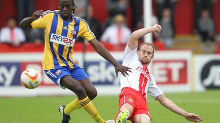 David Gray in action against Brentford. Photo: Harry Hubbard
