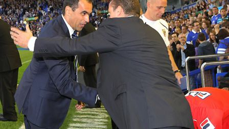 Roberto Martinez welcomes Graham Westley to Goodison Park in the Capital One Cup earlier this season
