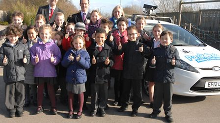 Dunmow Primary School's Student Council children with acting headteacher Christian Davies (back left