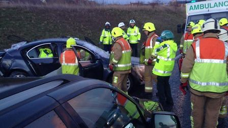 Emergency services were called to a crash on the A507 near Stotfold this afternoon (Tuesday). Credit